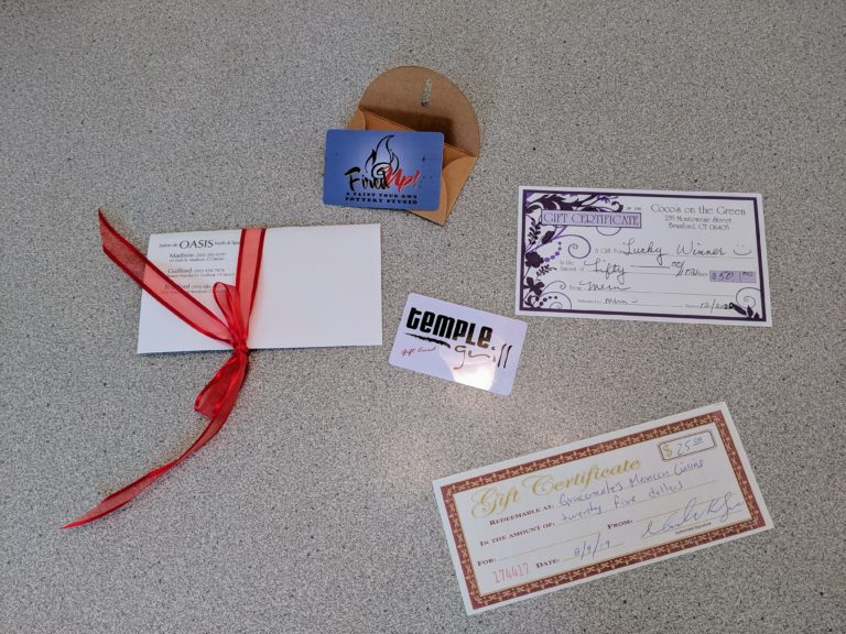 Various gift cards from generous local merchants