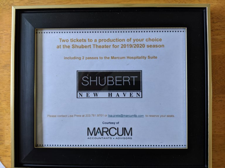Two tickets to a production of your choice at the Shubert New Haven including access to the Marcum hospitality suite.